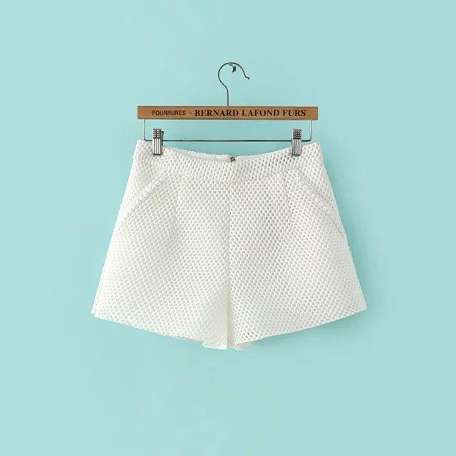 FA02 Summer Fashion Women elegant Mesh Hollow out shorts ...