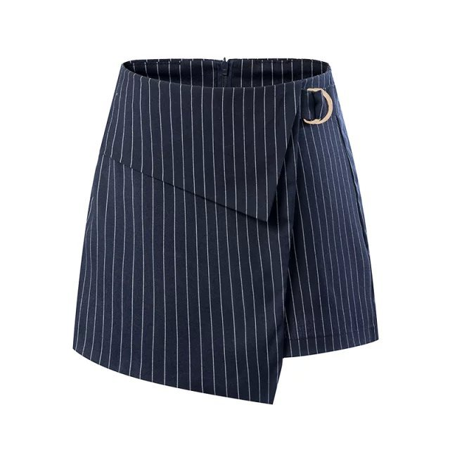 XD109 Fashion Summer Women Elegant Stripe Print Zipper Irregular quality Casual brand designer Skirt Shorts