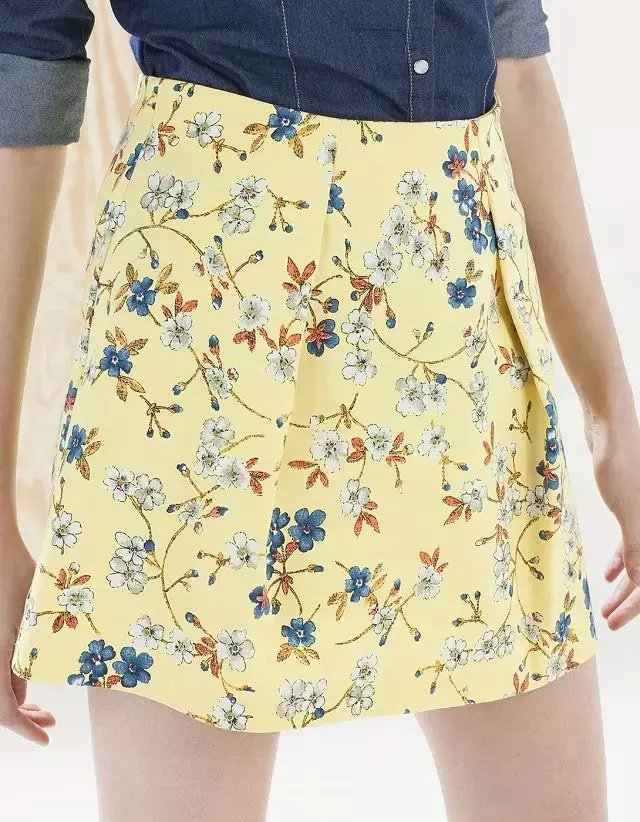 XC39 Fashion Summer Women Elegant yellow floral print skirts vintage zipper quality Skirts casual slim brand skirts