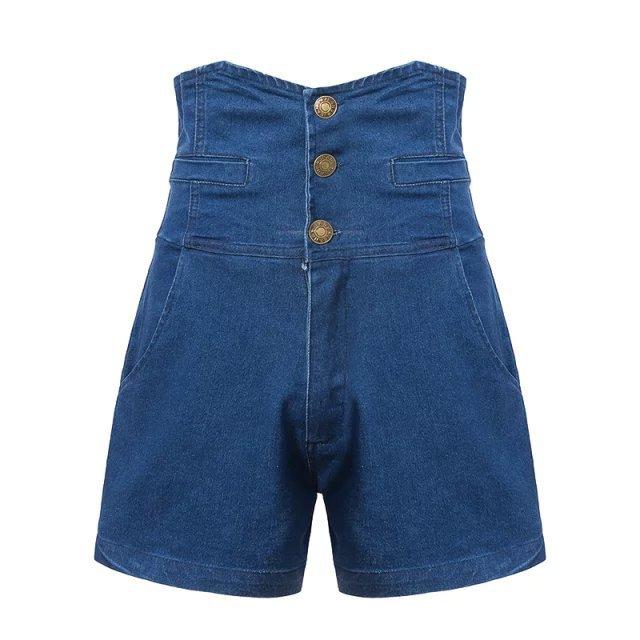 XD19 Fashion Summer Women Blue Elastic High Waist pocket ...