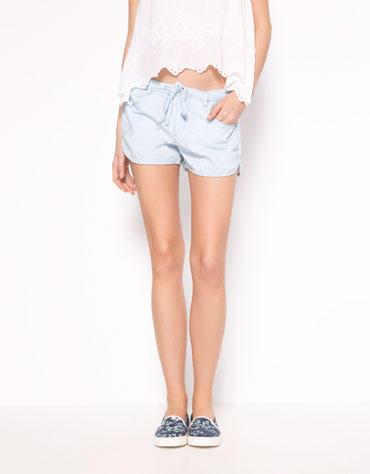XC03 Fashion Summer Women Blue Elastic Waist Pocket Shorts Casual Slim Brand design Shorts