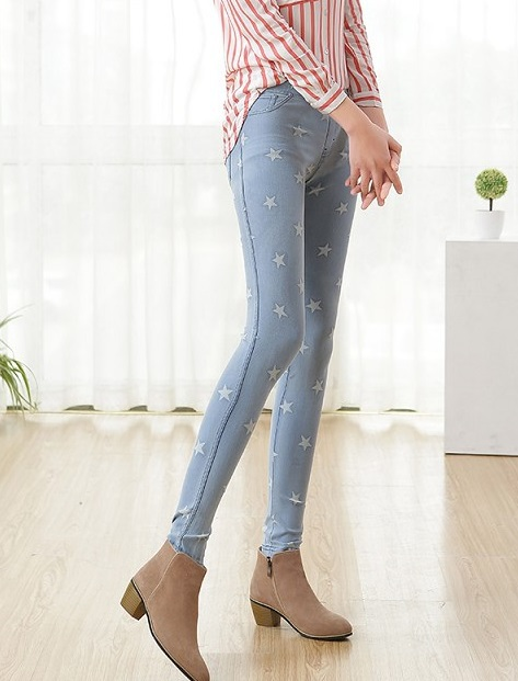 KQ47 Fashion women Elegant pockets Stretch Denim Star ...