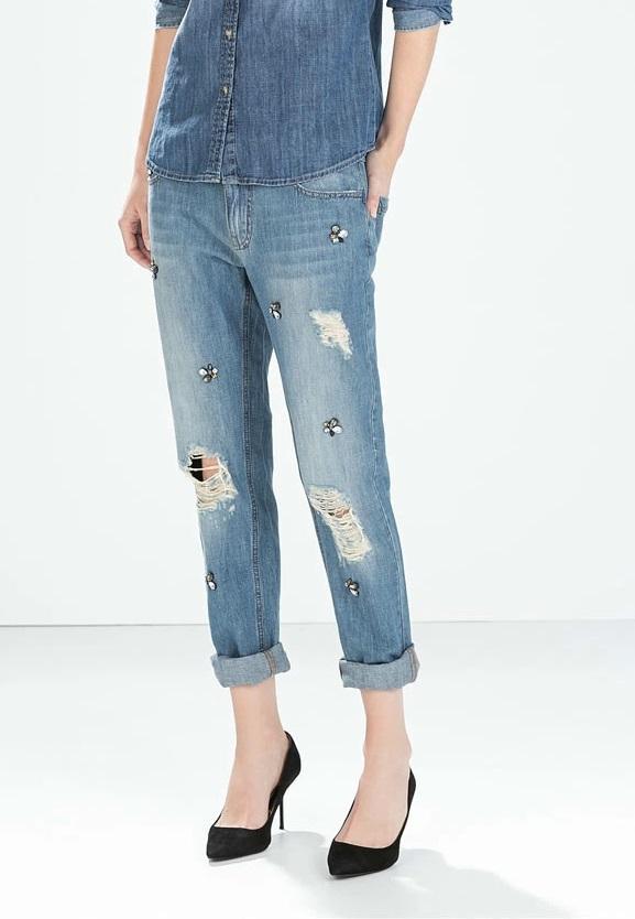 FG13 Fashion Women elegant classic holes Beading Denim jeans trouses zipper pockets skinny pants casual slim brand design