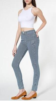 03FG02 Fashion Ladies' elegant stripe Blue Denim stretch jeans trouses zipper pencil skinny pants casual slim brand design