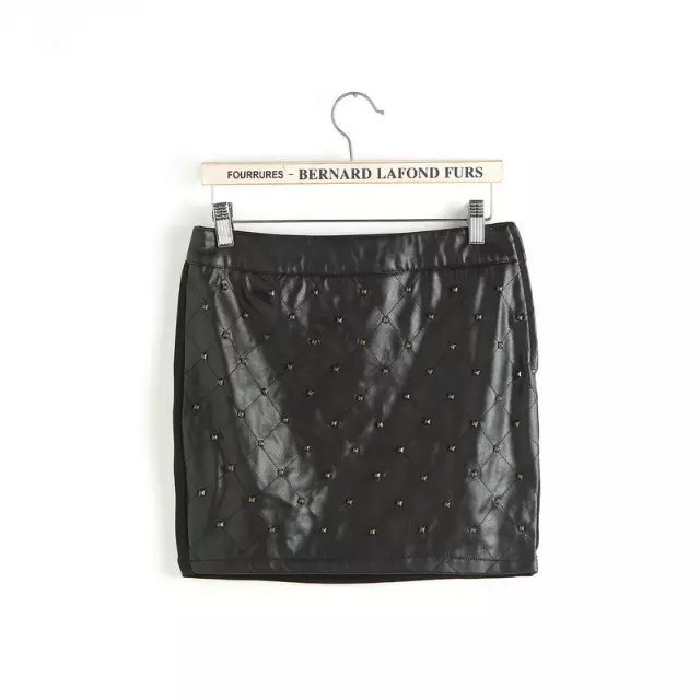 XZ96 Summer Fashion Women Rivet Side Zipper PU Leather patchwork knitting skirt Casual black brand Quality Skirts