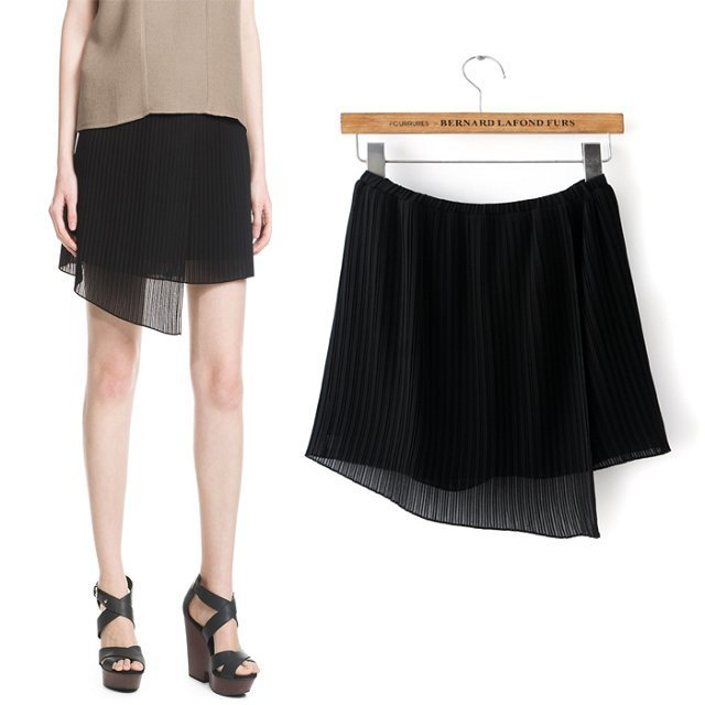 XIC09 Fashion Summer Women Elegant Irregular Pleated Skirt casual slim brand designer skirts