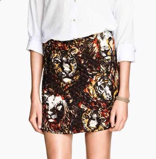 TB42 Fashion Summer Women Elegant Diamond lattice tiger Print Skirt casual slim brand designer skirts