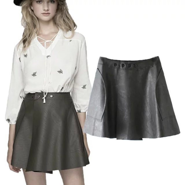 RG17 new fashion womens' rivet PU Leather pocket Sexy Mini Skirt elegant classic black casual skirts