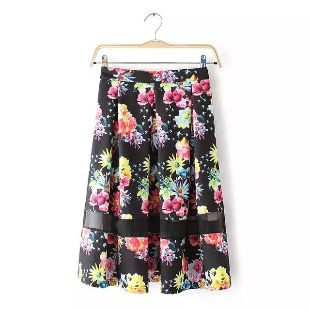AZ43 Fashion women vintage Floral print pleated Skirts casual quality Mesh Patchwork skirt