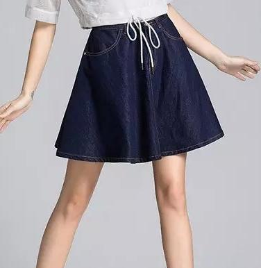 QI19 New Fashion Women High Waist Elegant Denim A-Line skirts Vintage Zipper Pocket Casual Skirt