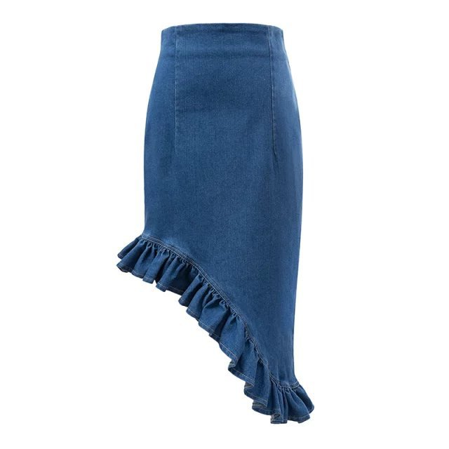 Xd20 Fashion Summer Women Blue Denim Mini Skirt Trumpet Mermaid Casual Empire Slim Short Ladies Skirts Saia Feminina