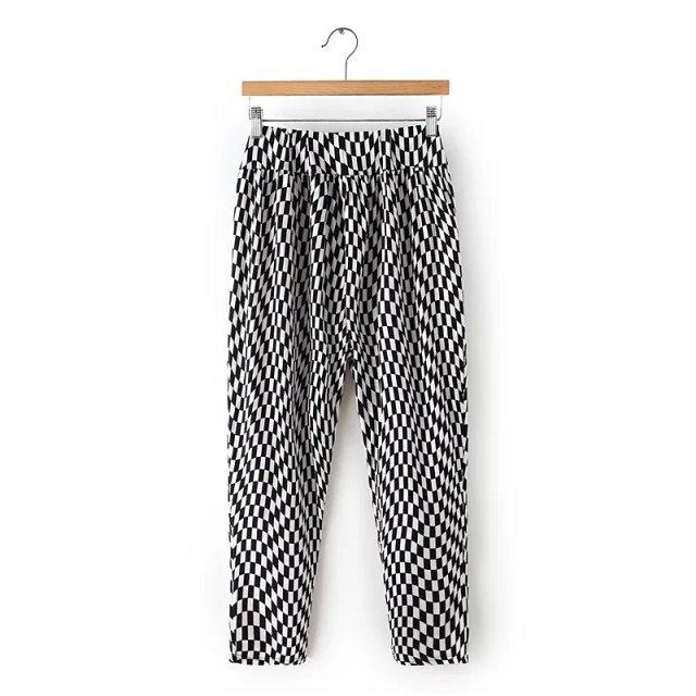 XYY54 Fashion Women Elegant black white plaid Elastic waist Drawstring Stretch trousers pockets brand designer pants