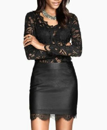 04SY10 Fashion women elegant sexy Black lace spliced pu leather Skirts hot stylish zipper casual slim brand skirts