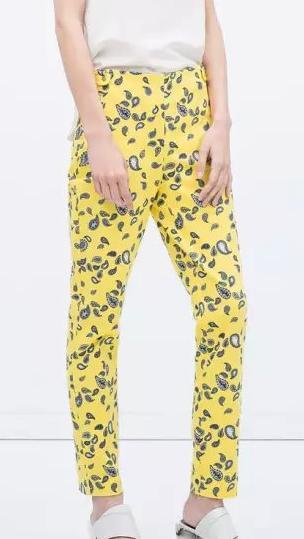 HA06 Fashion Women Elegant Paisley print Embroidery Button pocket trousers Casual brand designer Yellow pants