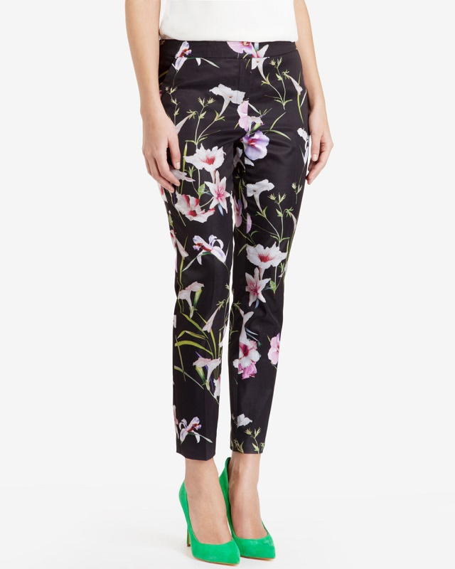 LE07 Fashion Women Elegant floral Print Zipper trousers ...