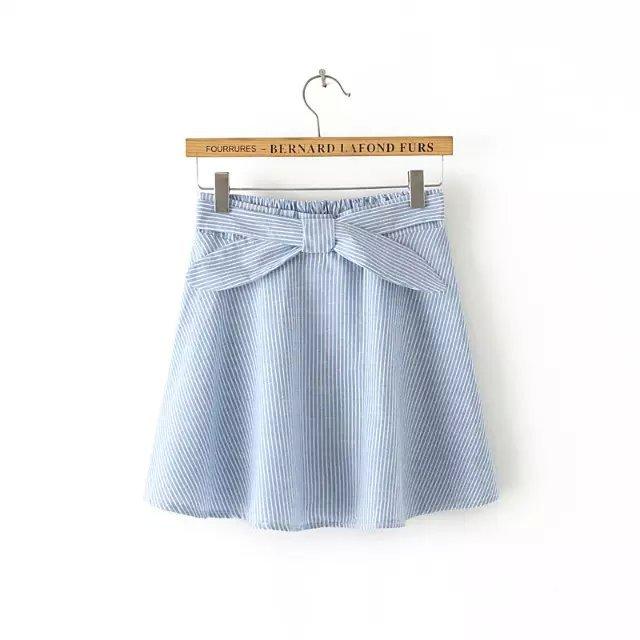 QQ39 Fashion Women Elegant Pleated Cross Stripe skirts Elastic Waist Tunic Drawstring Vintage Casual brand Skirt