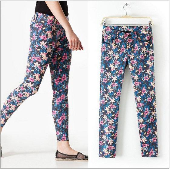 XC01 Fashion women's Elegant Leaf floral print Skinny pants pencil trousers cozy vintage casual slim brand designer pants