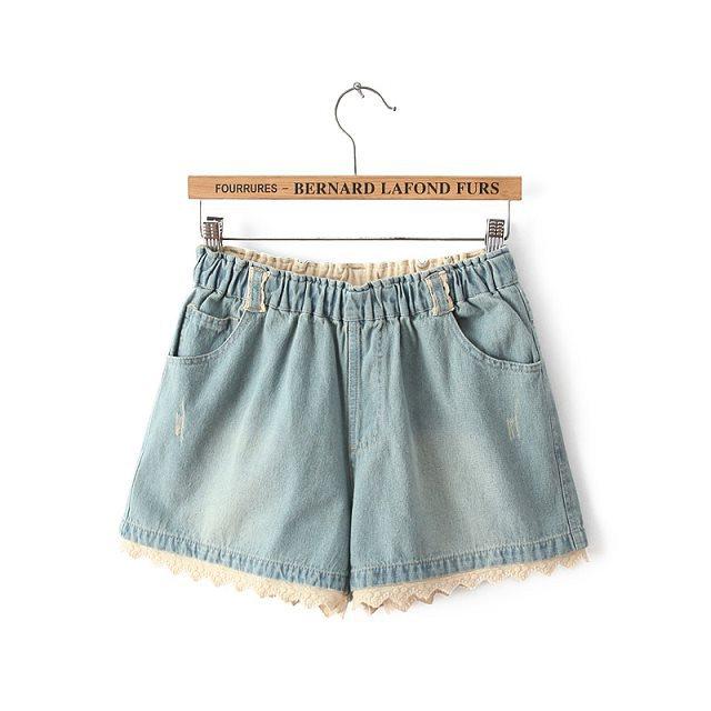 ZH11 Fashion Women Elegant Lace Patchwork elastic waist Denim shorts pockets casual Jeans