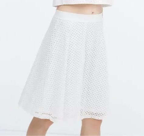 JF23 Fashion Women Elegant Pleated Lace white Mini skirts Elastic Waist Tunic Vintage Casual brand Skirt
