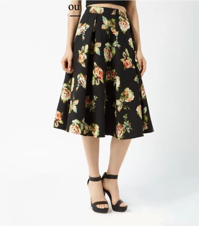 QB08 Fashion Ladies' Elegant floral print black skirts vintage zipper work wear Skirts casual slim brand skirts