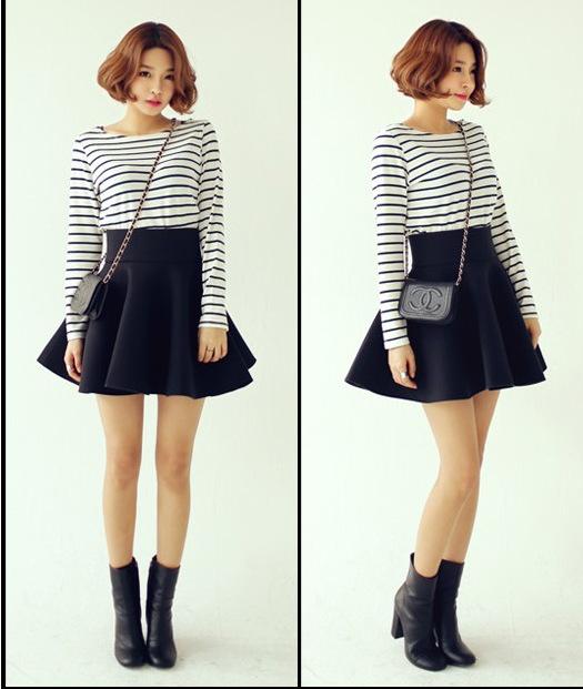 TYD02 Fashion Women brief print zipper black blue pleated skirt work OL casual slim brand skirts