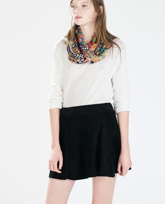 3de228234e JQ110 Fashion Women Elegant Corduroy Black mini pleated skirts vintage  zipper Work Skirt casual slim brand