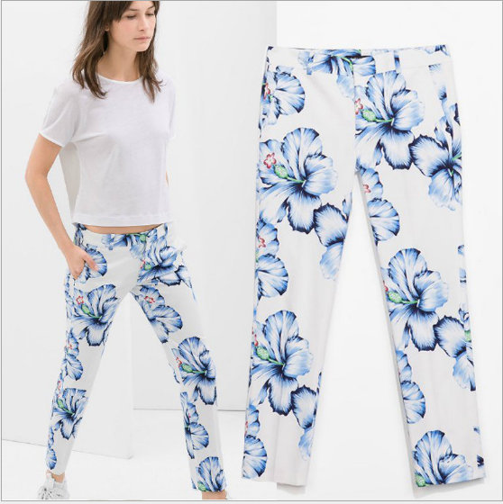 08 New summer Fashion Ladies'flower print zipper waist ...