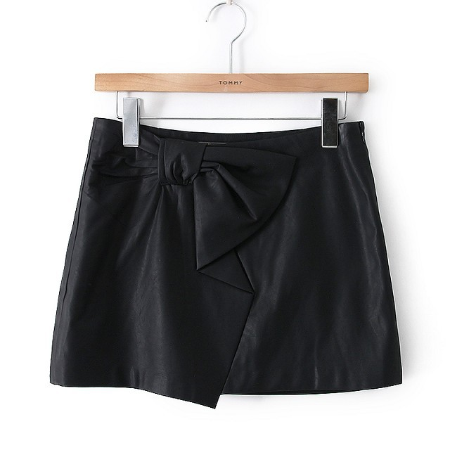 HY12 Fashion women Sexy faux leather Mini Skirt black bow tie elegant OL style zipper casual slim skirts brand design