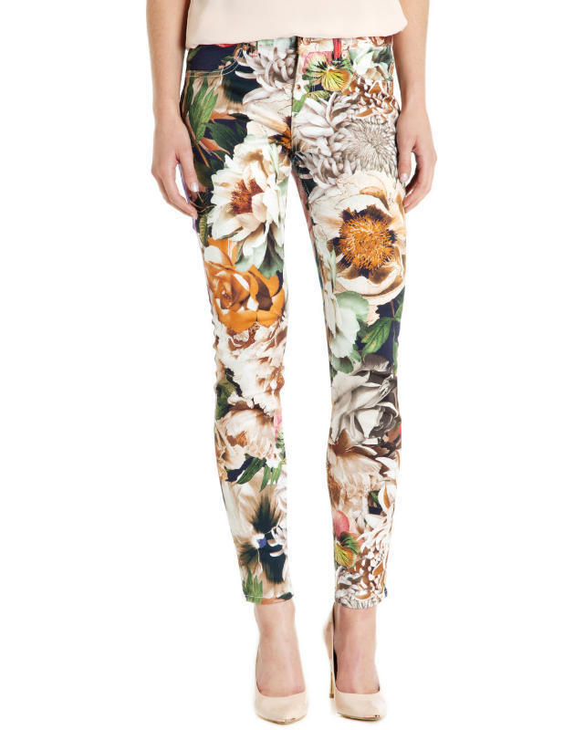 03TH23 Fashion women's Elegant Floral print stretch skinny trousers casual slim zipper pencil pants brand designer pants
