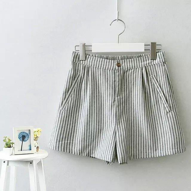 JIN01 Fashion Women Elegant Cotton Stripe Elastic waist ...