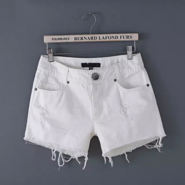 XZ103 Fashion Summer Women Elegant Denim White Frayed Hole Zipper pocket quality Casual brand Shorts