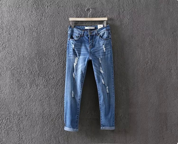 WS09 Fashion New Women Elegant holes Blue Denim jeans ...