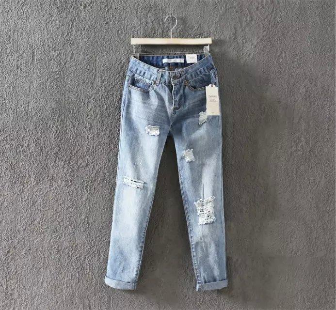 WS06 Fashion Women Elegant holes Blue Denim jeans Trousers zipper pockets Casual brand design pants