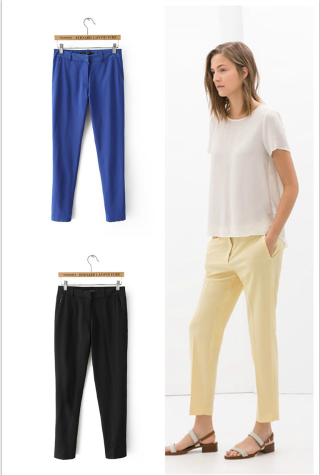 FH12 New Fashion women's Elegant Candy Color pants zipper pockets pant casual brand design
