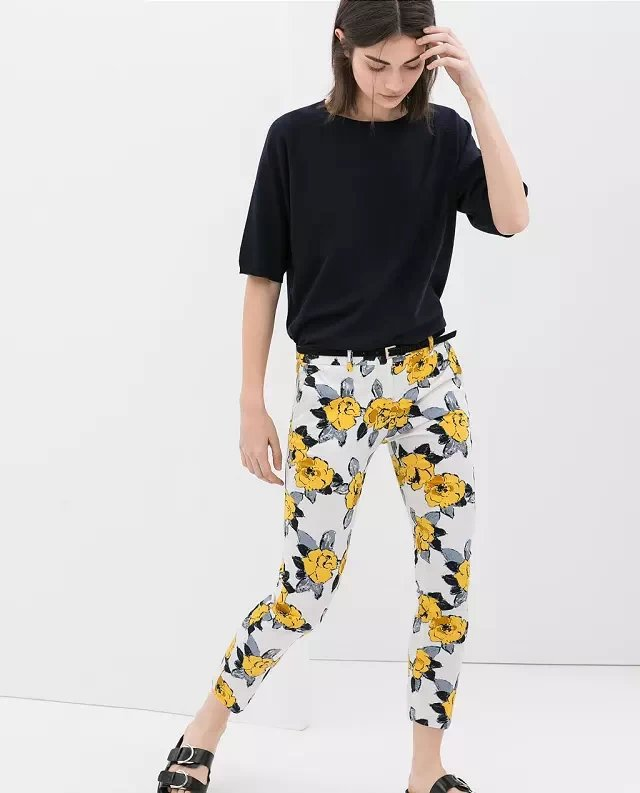 03TH02 Fashion women's Elegant yellow floral print skinny ...