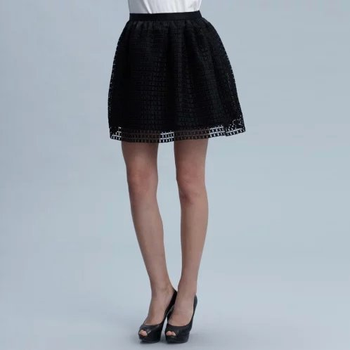 DAN13 Fashion Summer Women Elegant Ball Gown Mesh plaid Elastic Waist zipper Skirt casual brand designer skirts