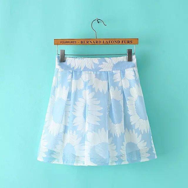 QQ40 Fashion Women Elegant Mesh Cotton Pleated Sunflower Print skirts Back Zipper Vintage Casual blue brand Skirt