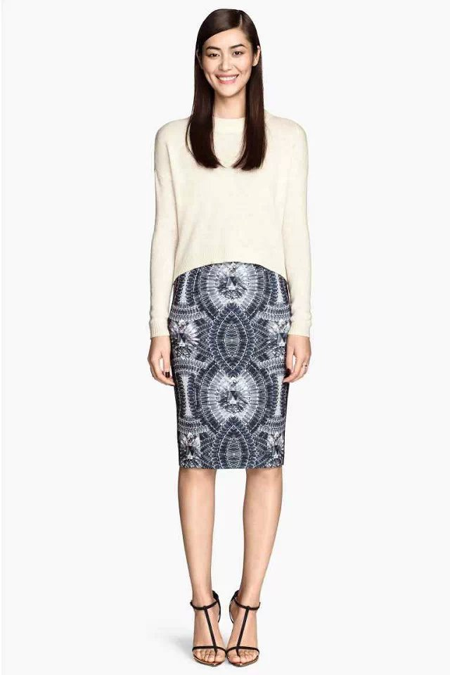 JQ103 Fashion Women Elegant Diamond Print pencil Skirt Vintage zipper waist casual slim Work skirts
