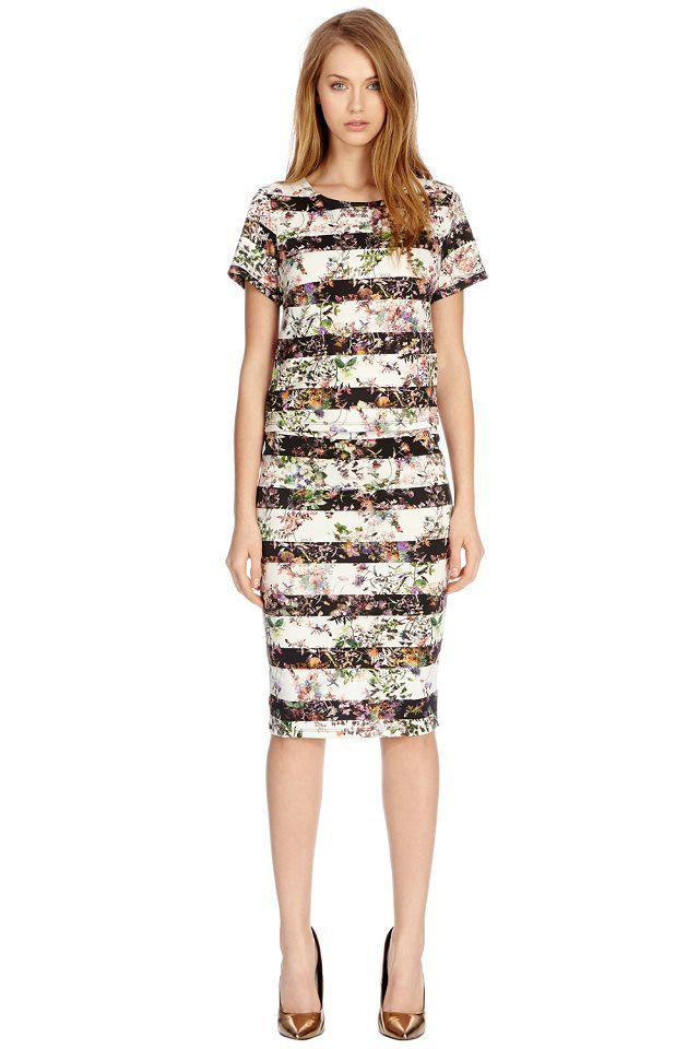 04A1144 New Fashion Ladies' Elegant striped flower pencil Skirts zipper waist casual slim brand design quality skirts