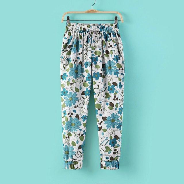 03A415 New summer Fashion Ladies' elegant Harem print pants elaetic waist pants OL pants casual slim pants