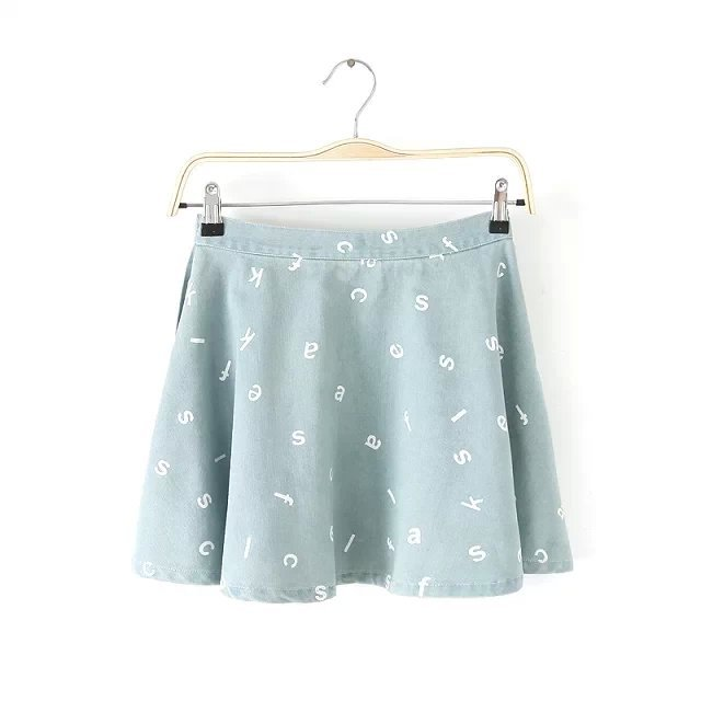 CH25 Fashion Women pleated Letter prined Denim Skirts Casual Zipper Plus Size Brand design Mini Skirt