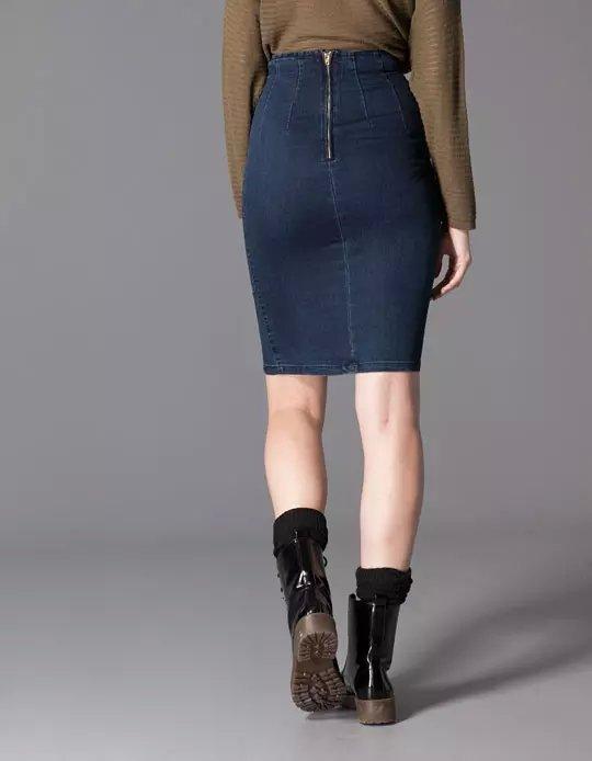 9007183fdf Tc11 Fashion Summer Women Stretch Dark Blue Denim Pencil Skirt. 7fairy Dark  Grey Cotton Heart Print Mini Pencil Jump Skirt