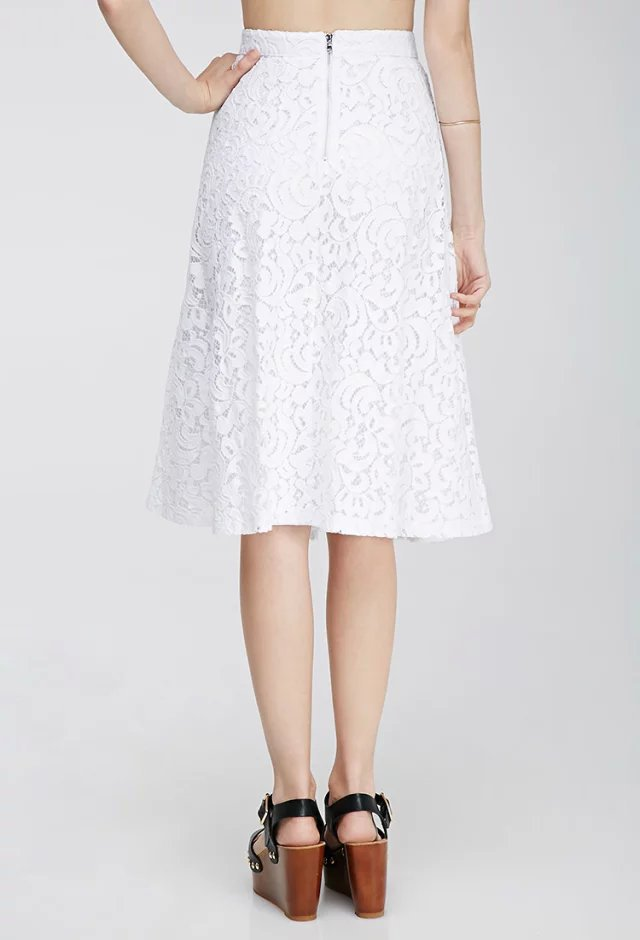White Lace A Line Skirt - Dress Ala