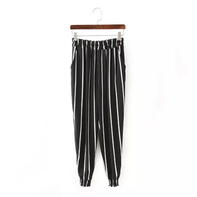 XL43 Fashion Women Elegant Stripe Elastic Waist Tunic trousers Pockets Casual brand designer Pants