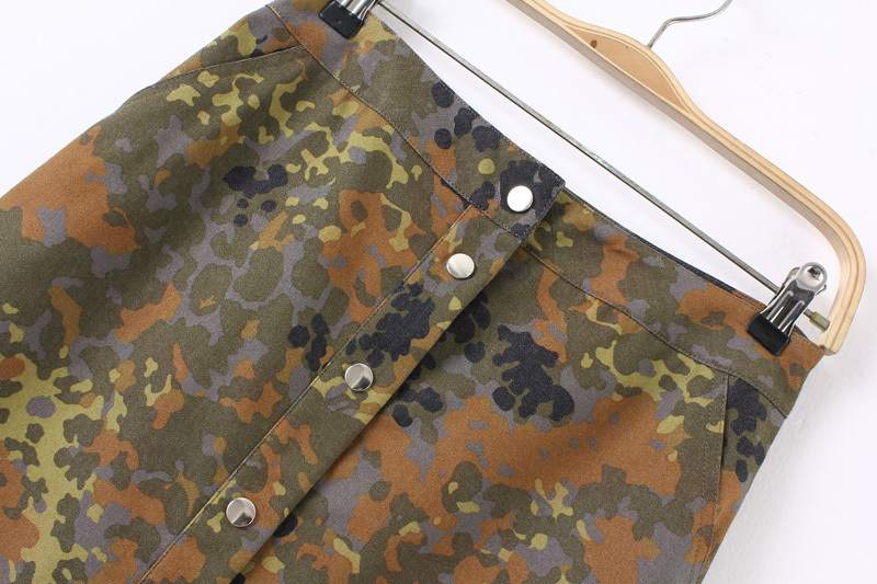 LE02 Summer Fashion Women Denim Camouflage Print pocket Button A-Line skirt Casual brand Quality Skirts