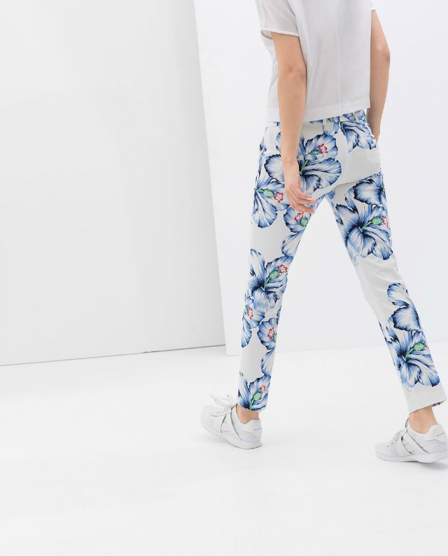08 New summer Fashion Ladies'flower print zipper waist pants OL work style pants casual slim pants