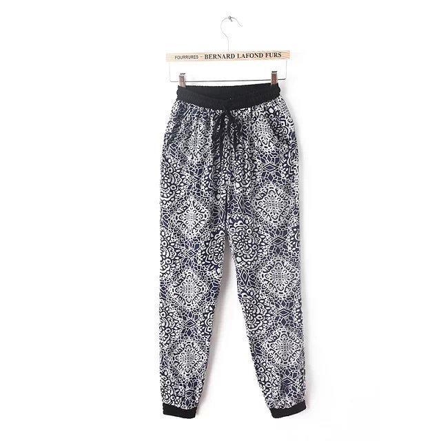 03A424 New summer Fashion Ladies'vintage flower print drawstring waist pants OL work style pants casual slim pants