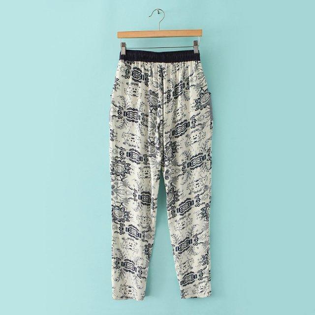 03A425 New summer Fashion Ladies' elegant print pants drawstring waist pants OL work style pants casual slim pants