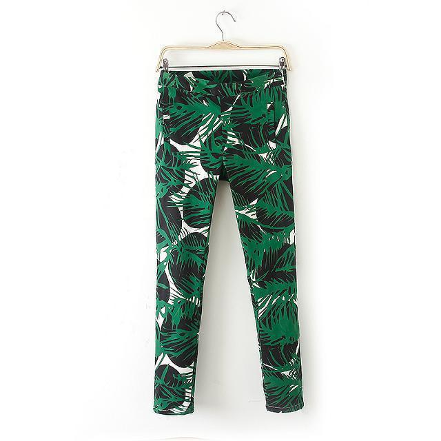 XC Fashion women green leaves print pants cozy trouses zipper pencil pants casual slim brand designer pants