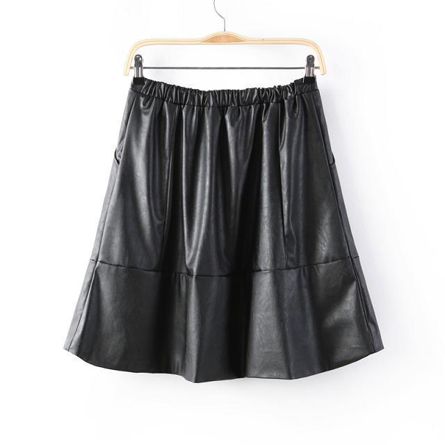 04A1537 Fashion women sexy faux leather classic black skirts knee-length pockets Skirts casual slim brand designer skirts